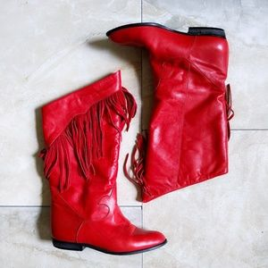 Vtg Italy Red Leather Fringe Lined Cowboy Boots